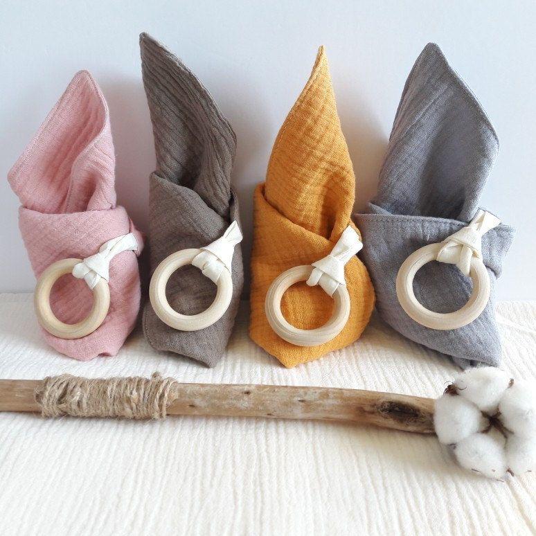 stars on dusky pink fabric//cotton muslin teething ring Handmade baby comforter