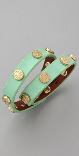 Tory Burch green tea and gold bracelet.