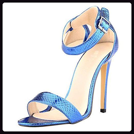 Oasap Damen Krokodil Offen Knöchelriemen Stiletto High Heels, Blau EURO35/US4/UK2 - Sandalen für frauen (*Partner-Link)