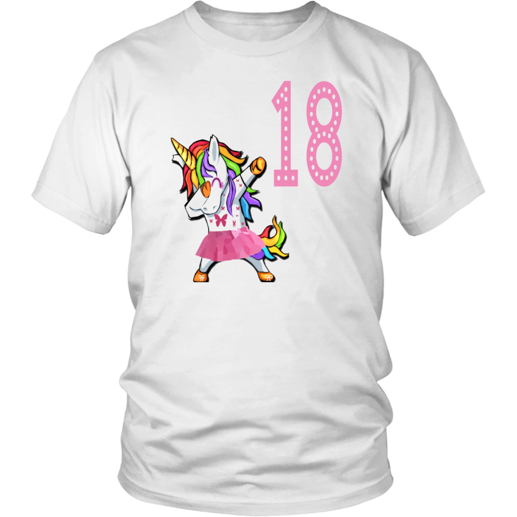 7c85188a8 18Th Birthday Dabbing Unicorn Birthday Girl For 18 Years Old Girl Young T- Shirt