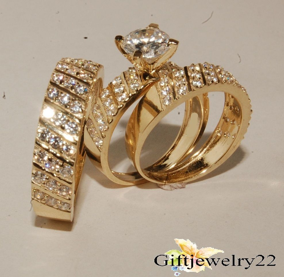 10K Yellow Gold Over Round Diamond His Her Trio Ring Set Engagement Wedding Band