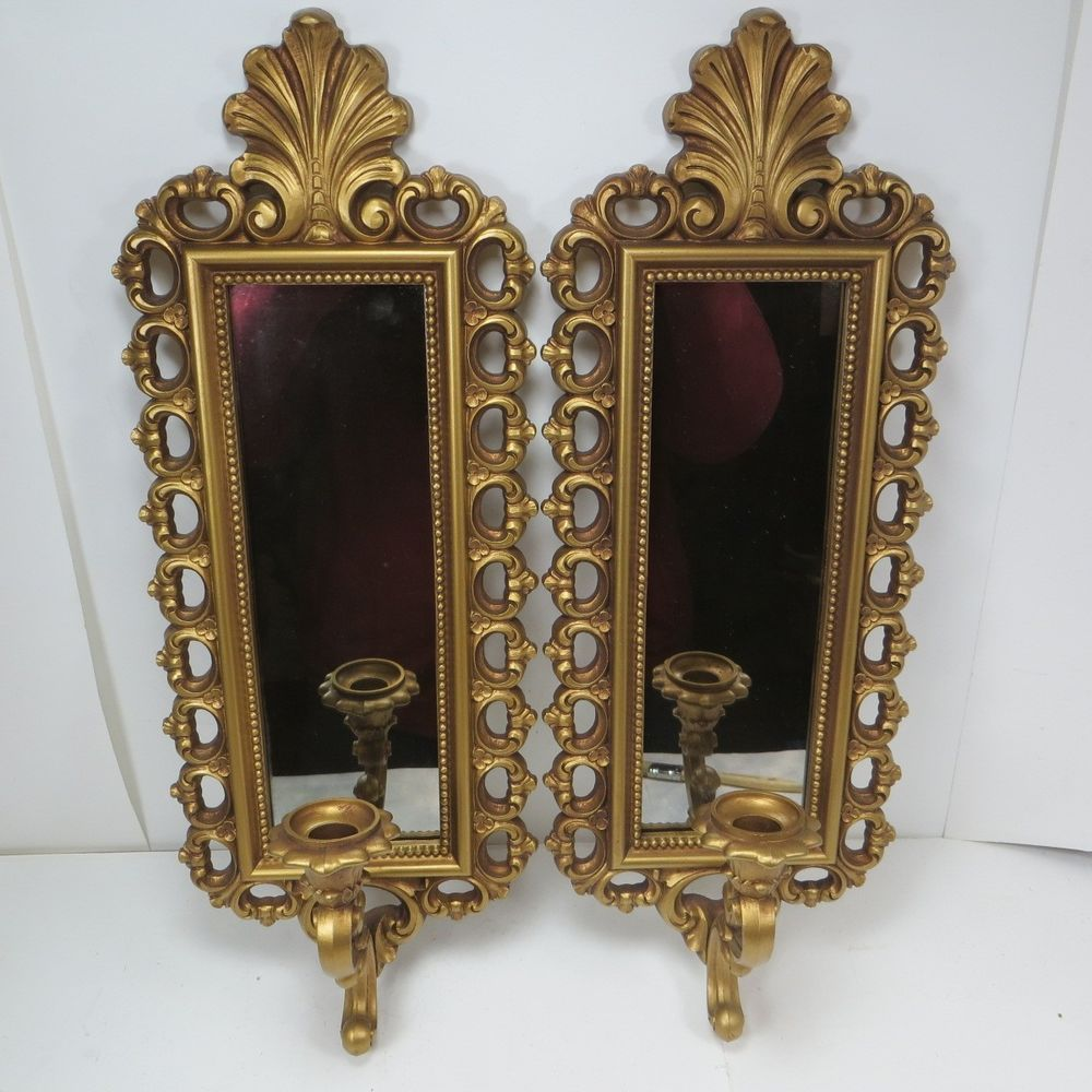 vintage hollywood regency mirror wall sconces homco gold candle holders syroco gold candle. Black Bedroom Furniture Sets. Home Design Ideas