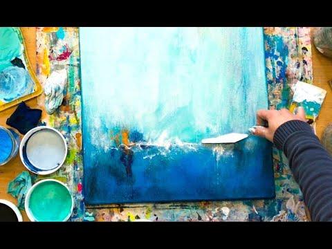 abstraktes bild in acryl mit struktur spachtel anleitung fur anfanger youtube abstrakt abstrakte bilder maltechniken malen gold