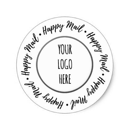 Happy mail script shop branding classic round sticker business logo cyo personalize customize diy special
