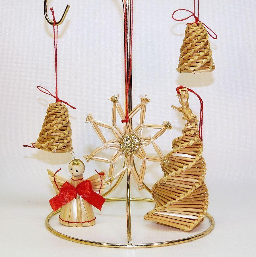5 Vintage Swedish Straw Ornaments Angel Tree Bells Star