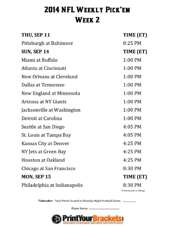 photograph about Nfl Week 2 Printable Schedule named Printable NFL 7 days 2 Plan Pick out em Business Pool 2014
