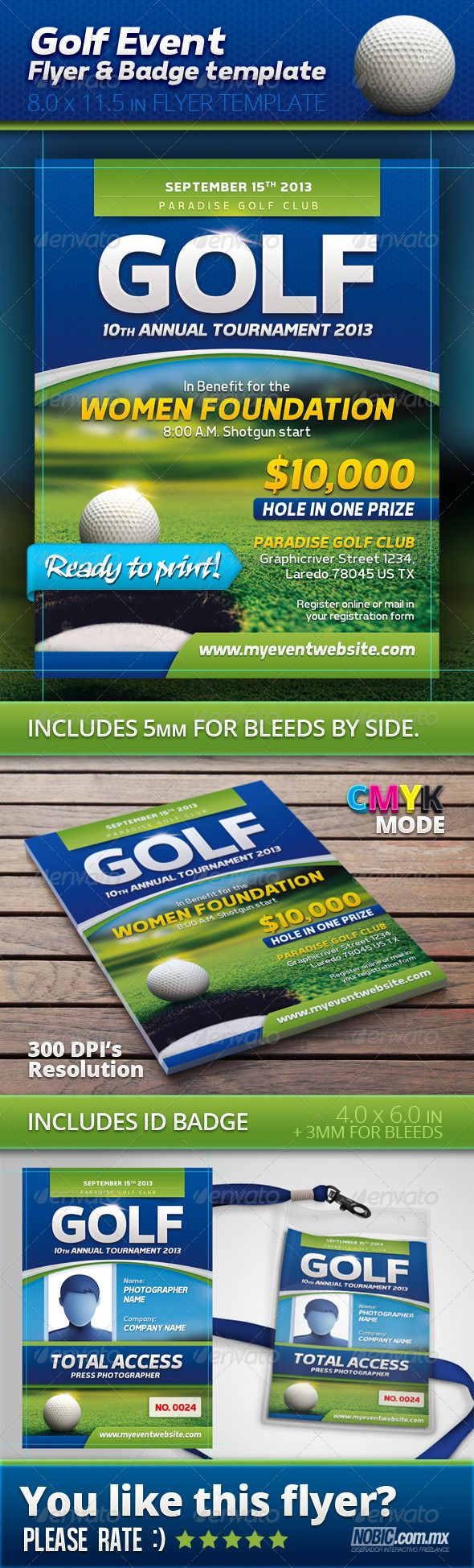 Golf Event Flyer and Badge Template