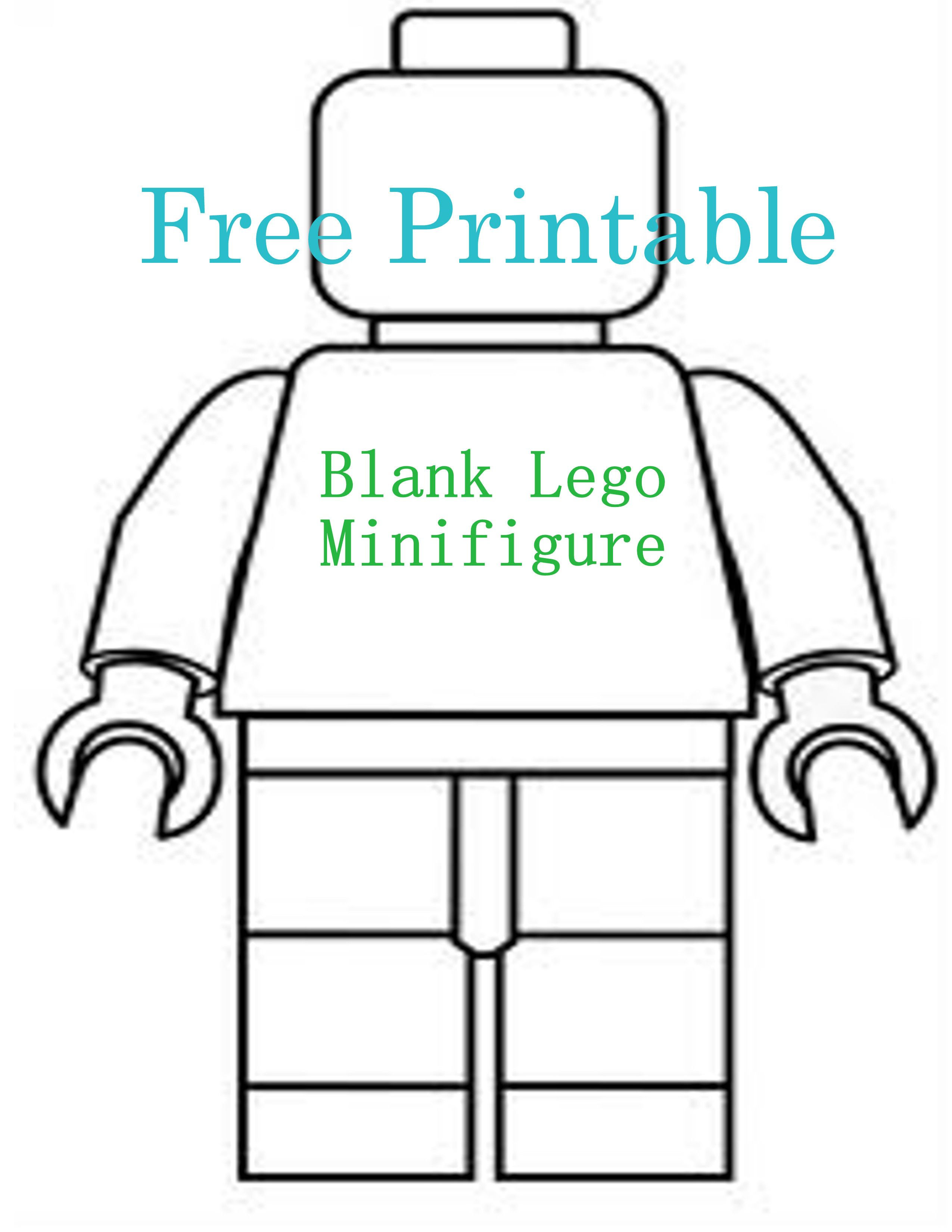graphic about Lego Minifigure Printable titled Cost-free Printable ~ Blank Lego Minifigure coloring Lego