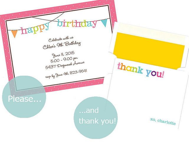 Please thank you matching birthday invitations thank you notes please thank you matching birthday invitations thank you notes stopboris Image collections