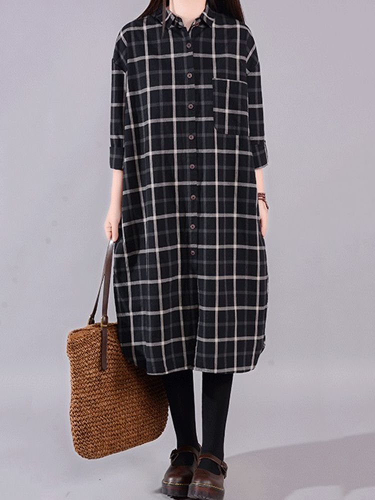 5f852790f70 Gracila Women Long Sleeve Plaid Button Down Vintage Shirt Dress ...