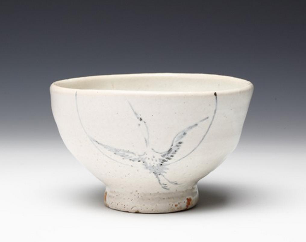 Toyozo Arakawa (1894- 1985) - chawan with crane motiv