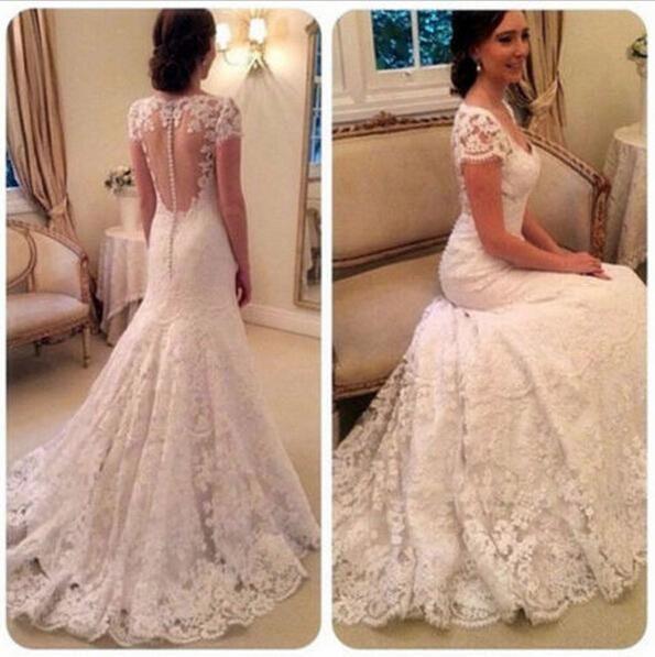 2016 Elegant V Neck Full Lace Wedding Dresses Cap Sleeves Romantic