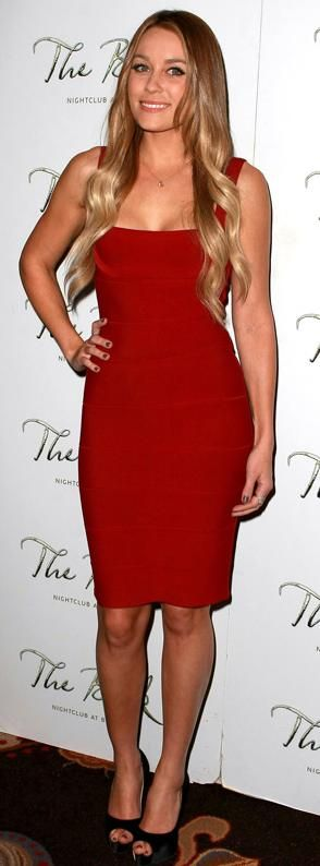 08b75110ca3 Who made Lauren Conrad's red dress, black shoes and jewelry that she wore  to the Sweet Little Lies party at the Bellagio hotel in Las Vegas, January  22, ...