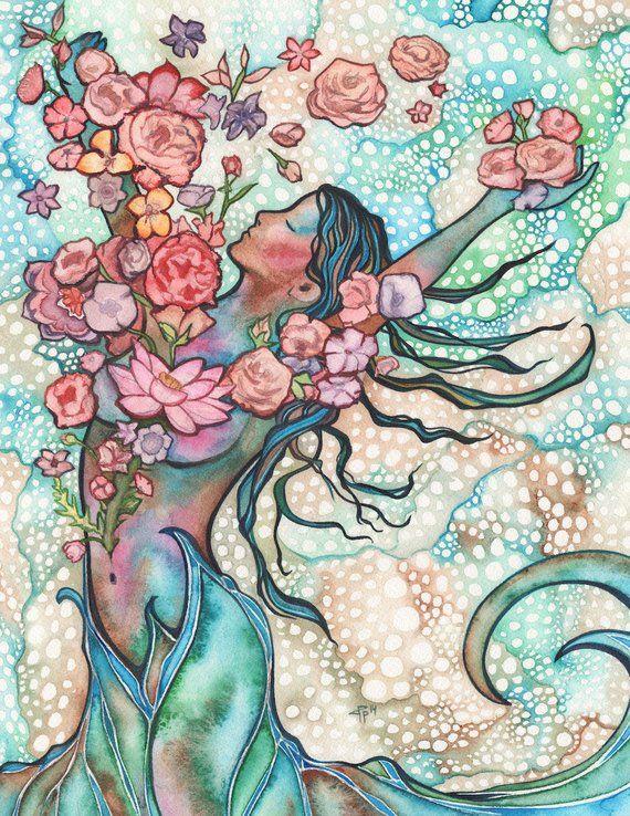 Gezeitenblüte - Aquarell Malerei Kunstwerk, Frühling Pfirsich rose rosa erröten Frühling Erdtöne, heilige Gaia Göttin göttliche weibliche Kunst Frühling