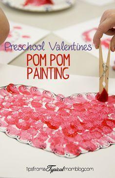 preschool valentines pom pom painting - Preschool Valentine Craft