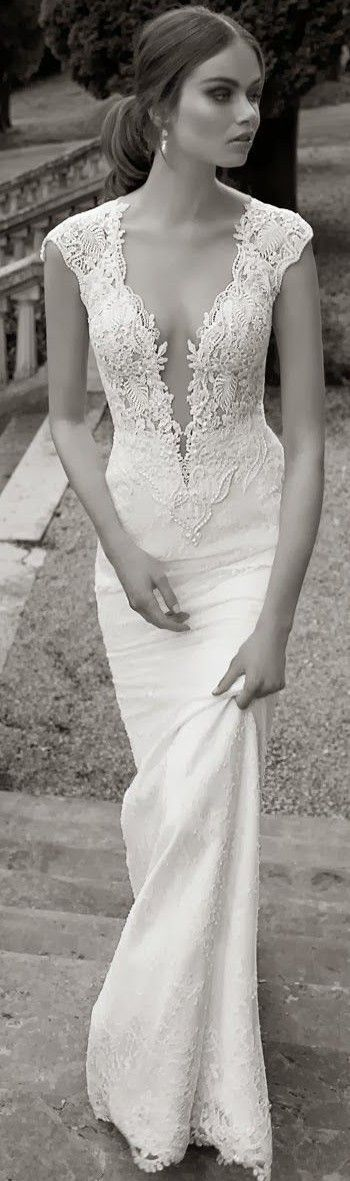 A Daring Wedding Gown With Plunging Neckline Love It