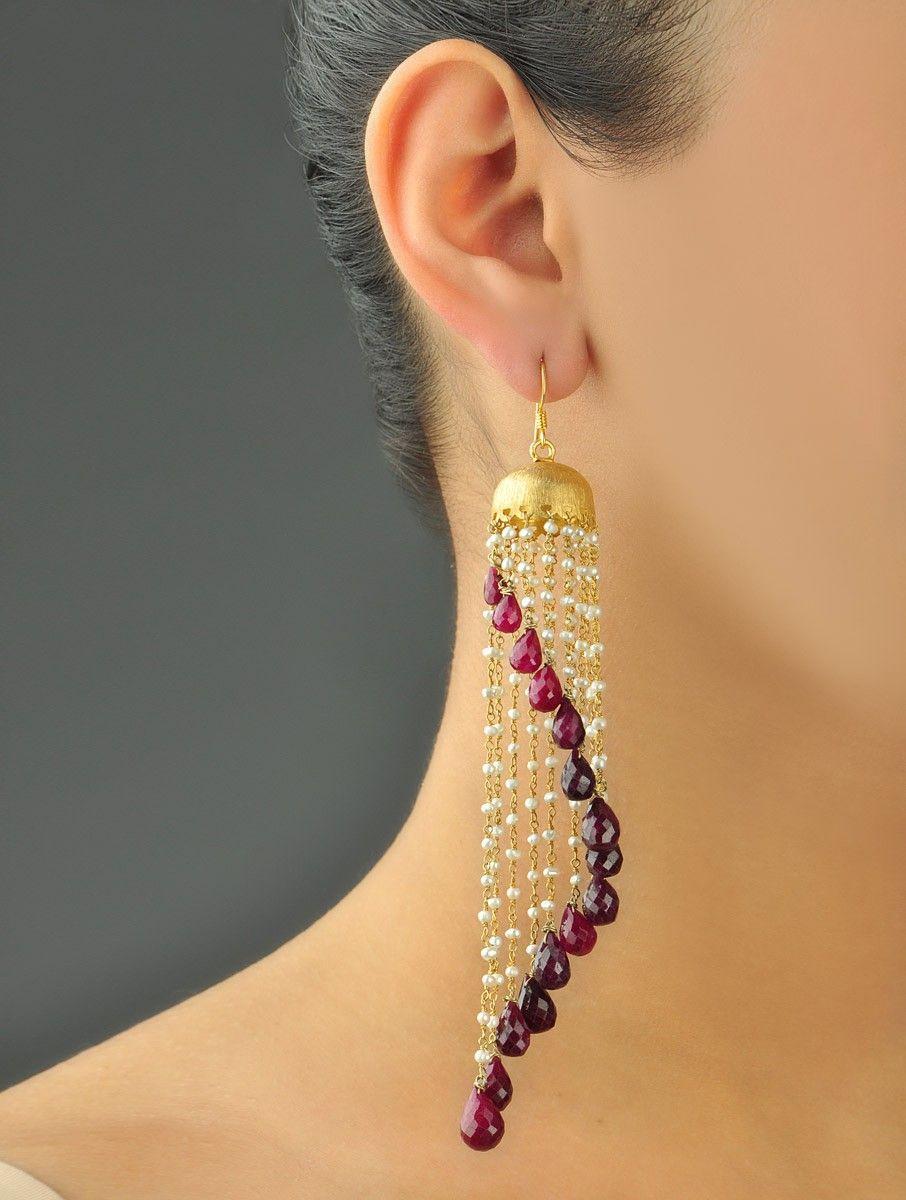Chandelier Assymetry Ruby Earrings   Ear pendants   Pinterest ...