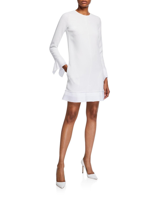 Victoria Victoria Beckham Pleated Trim Long Sleeve Shift Dress Long Sleeve Shift Dress Shift Dress Victoria Beckham Dress [ 1500 x 1200 Pixel ]
