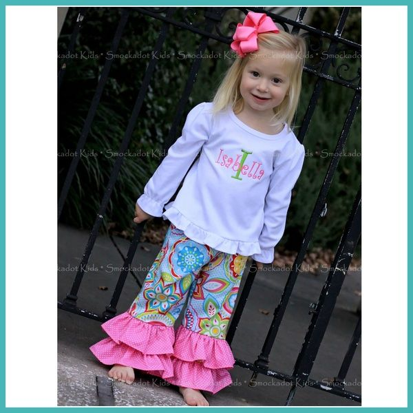 1/30/2014  Bright Floral Ruffle Pants Set