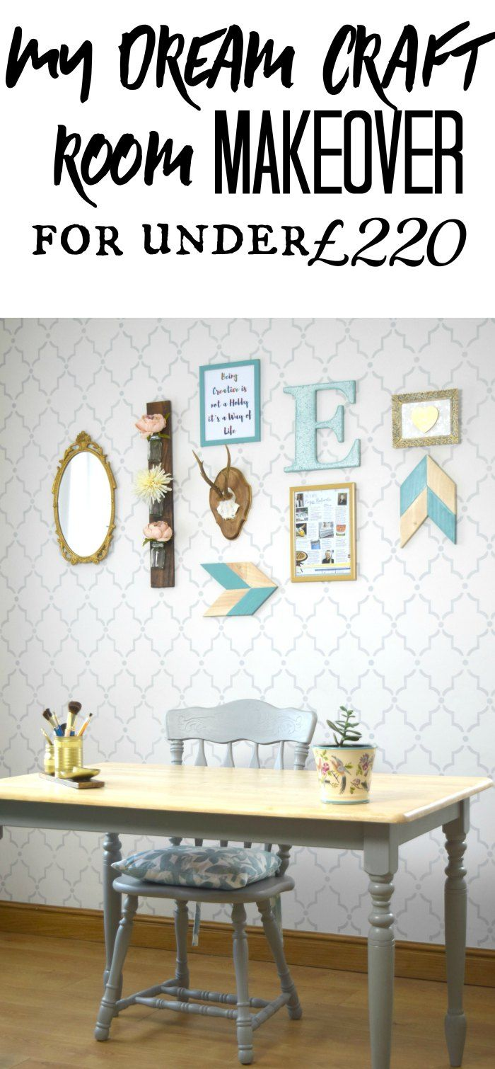DIY Craft Room, Office and Blogging Space. See the full tutorial on the blog - Marrakech Stencil Wall, Gallery Wall, DIY chalk painted furniture - From Evija with Love