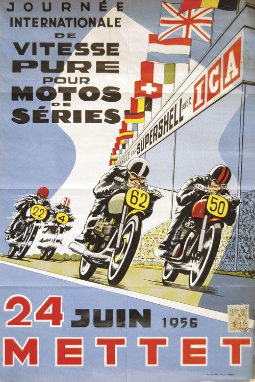 Vintage Sachsenring International motorbike race poster 1956