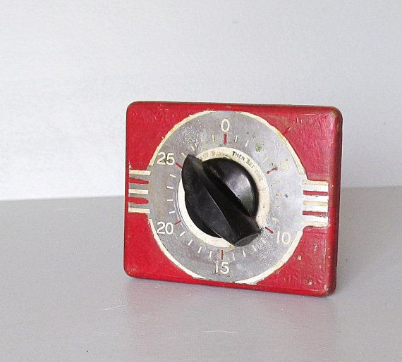 Art Deco Kitchen Timer In Red Black And Gray