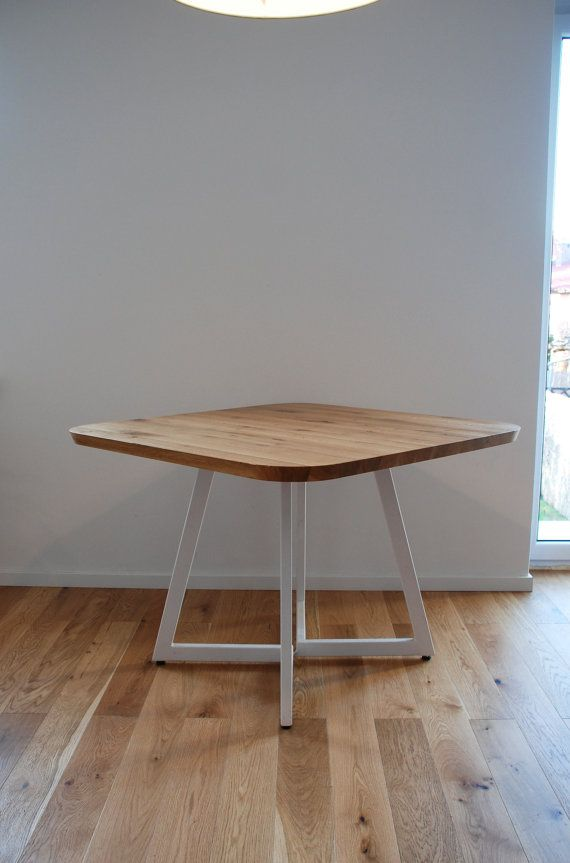 Pixie Solid Oak Square Dining Table On Steel Base Solid Oak