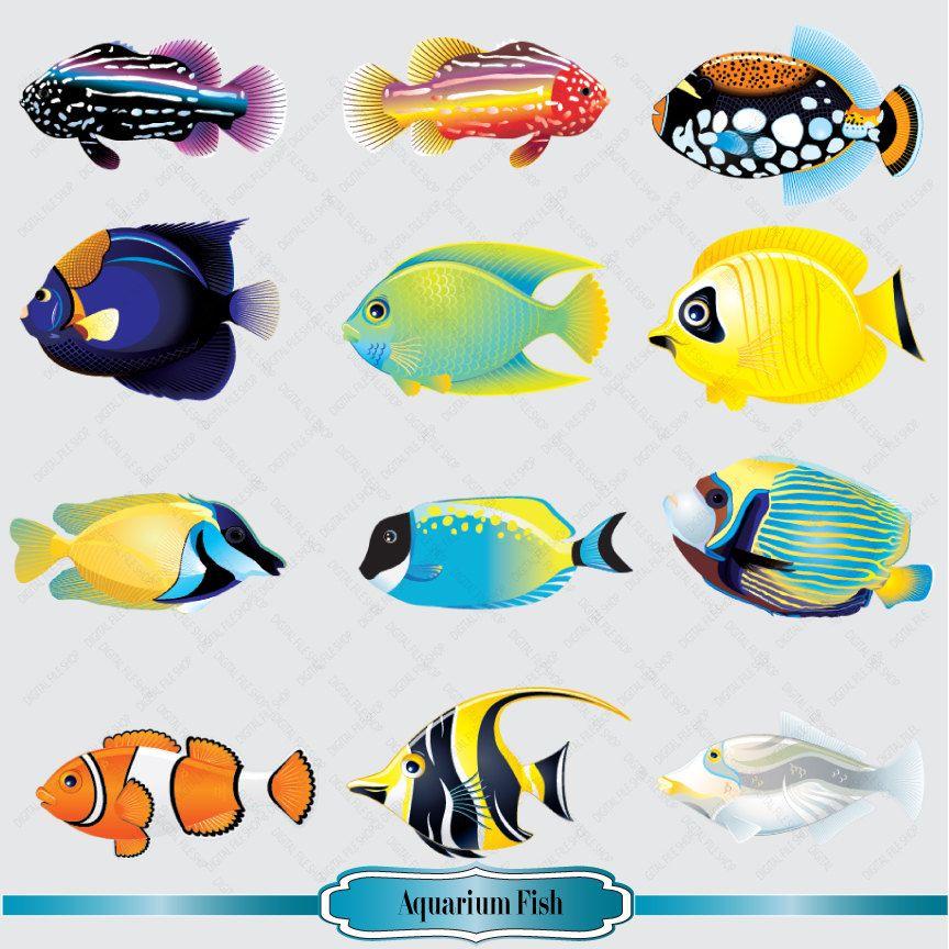 aquarium fish clipart set salt water fish clip by. Black Bedroom Furniture Sets. Home Design Ideas
