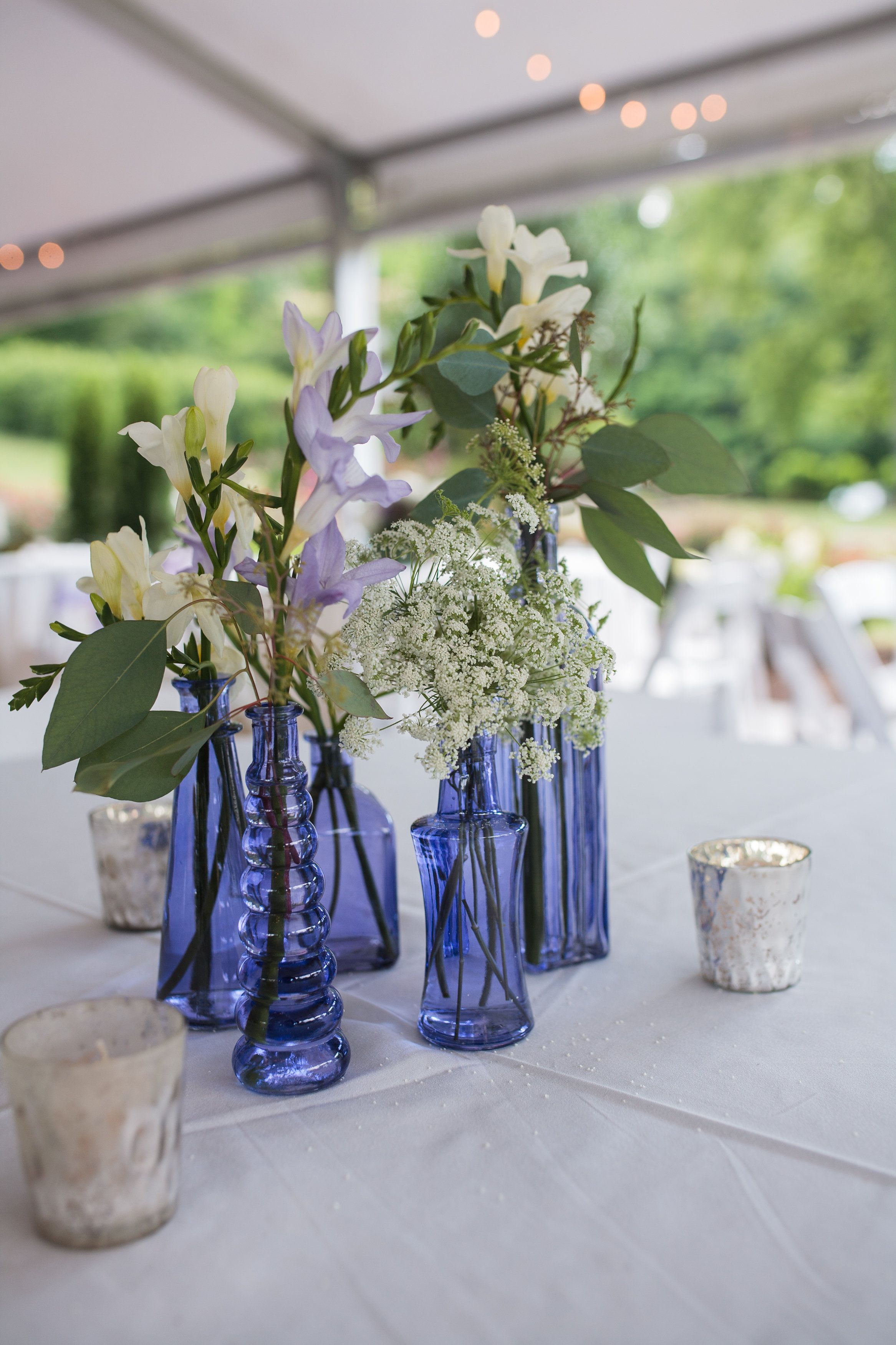 Outdoor Reception Light Blue Glass Cluster Vases White And Green