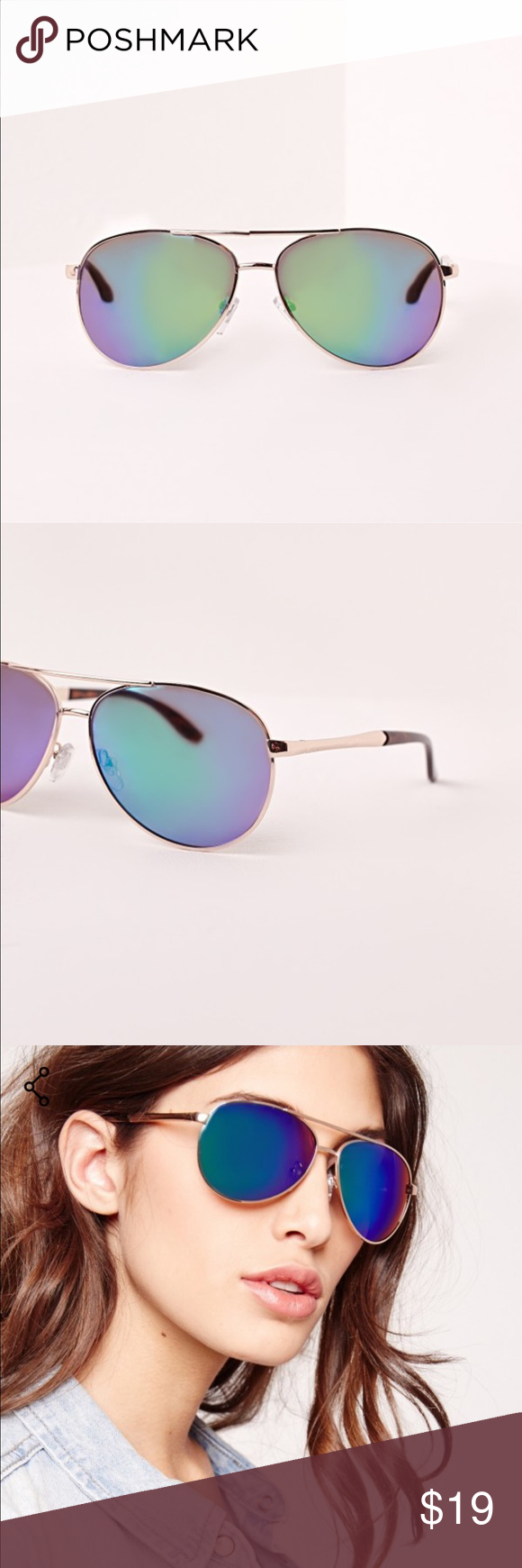 579f577c9801 MIRROR AVIATORS Missguided classic mirror lens (green) aviators with gold  brims. Super light weight. Lens size 2