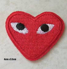 Commes Des Garcons Embroided Iron On Patch Cdg Play Japan Red Love Heart Red Love Heart Patches Iron On Patches