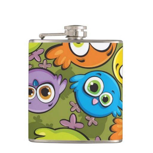 Sentimental Wedding Gift Ideas: Funny Cartoon Birds Colored Pattern Flask