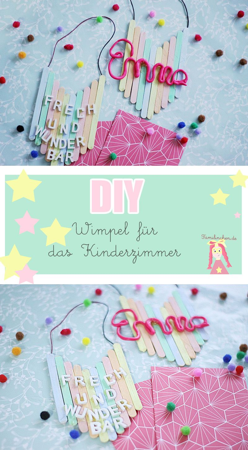 DIY Kinderzimmer Deko Wimpel aus Eisstielen basteln | Diy ...