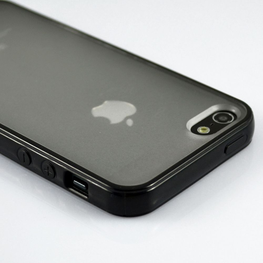 Black bumper with matte clear back case cover for iphone 5