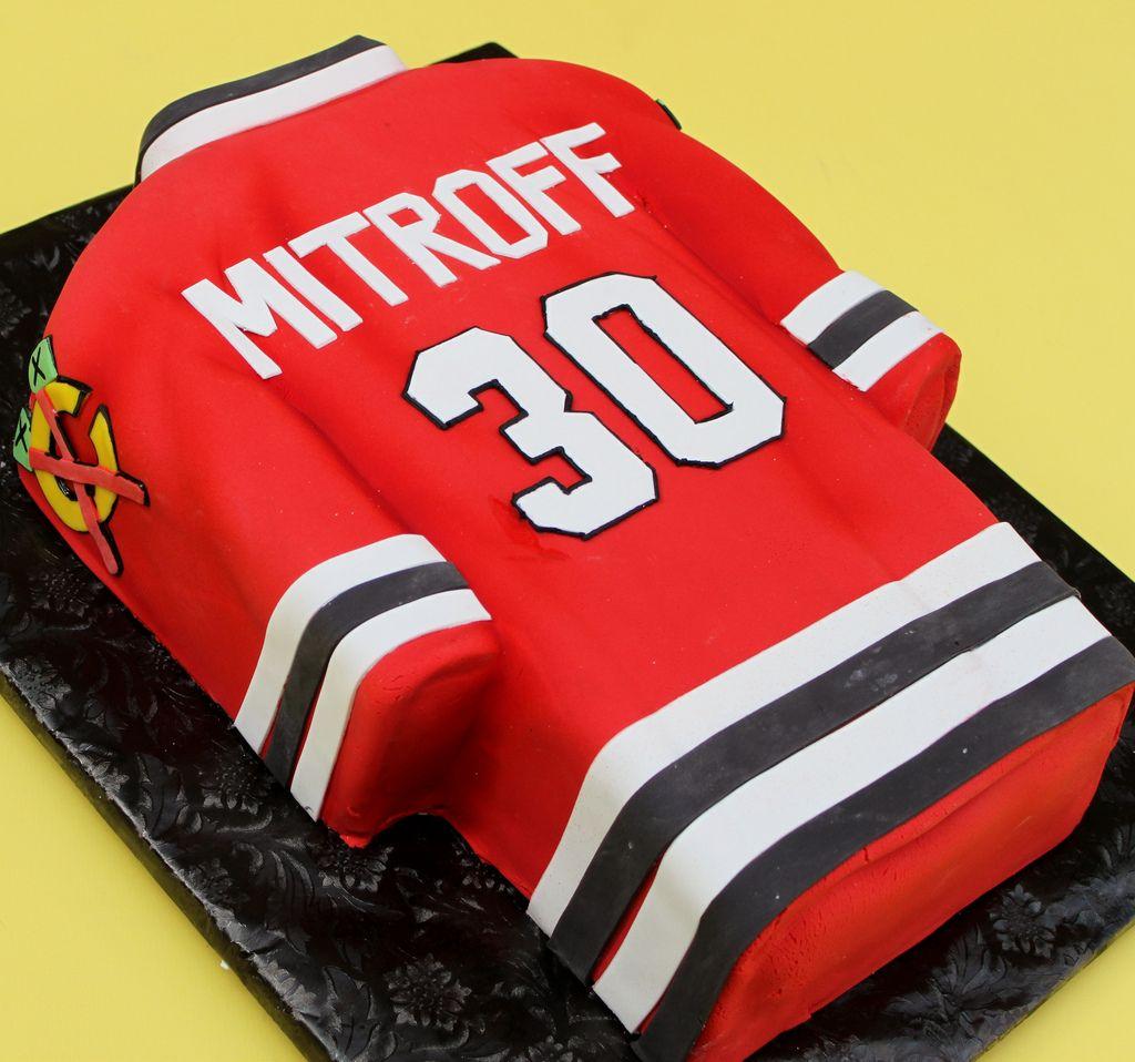 Black Hawks Jersey Hockey Cakes Sport Cakes Hockey Birthday Cake