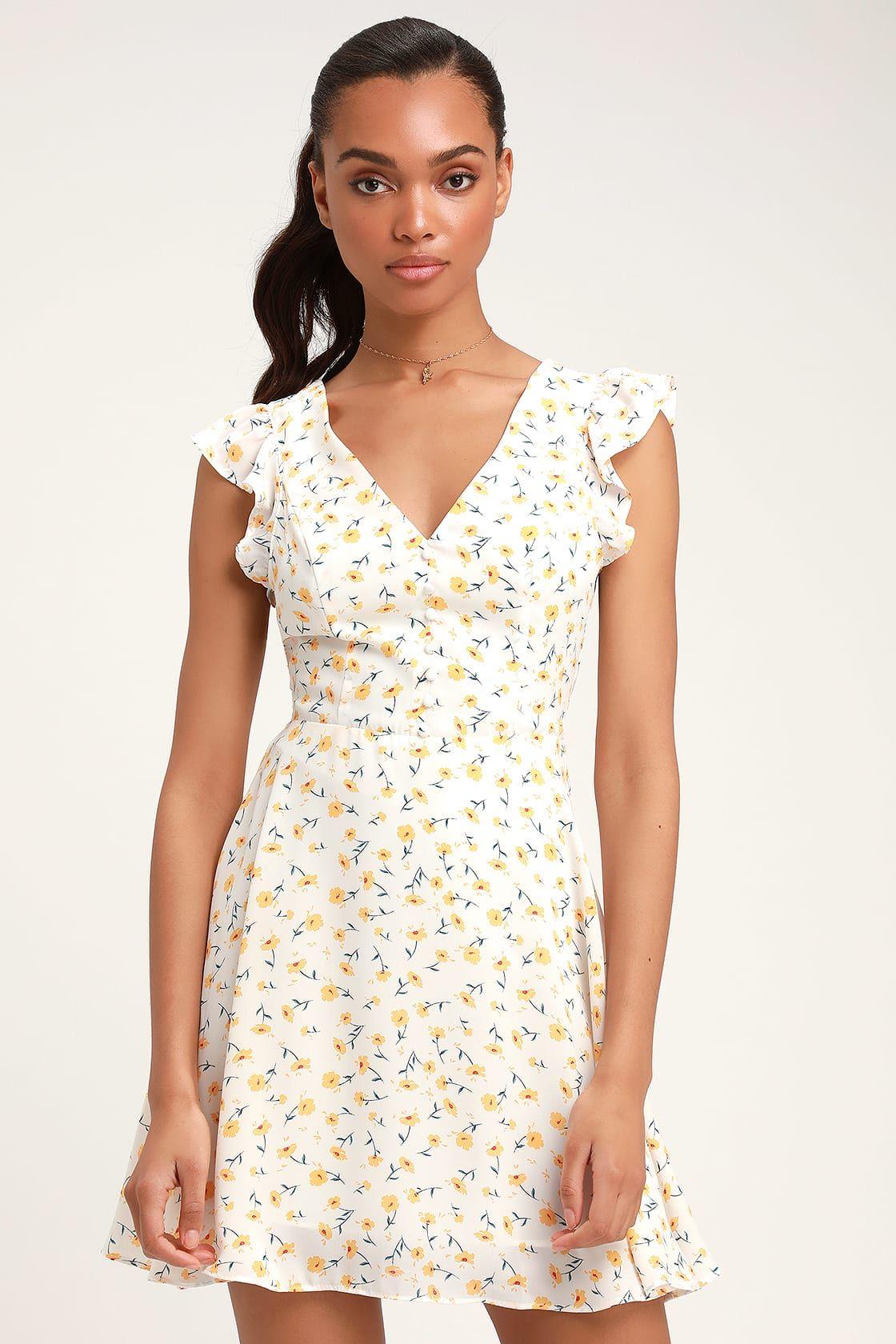 d797cd20d9 Lulus | Strike a Posie White Floral Print Backless Skater Dress ...