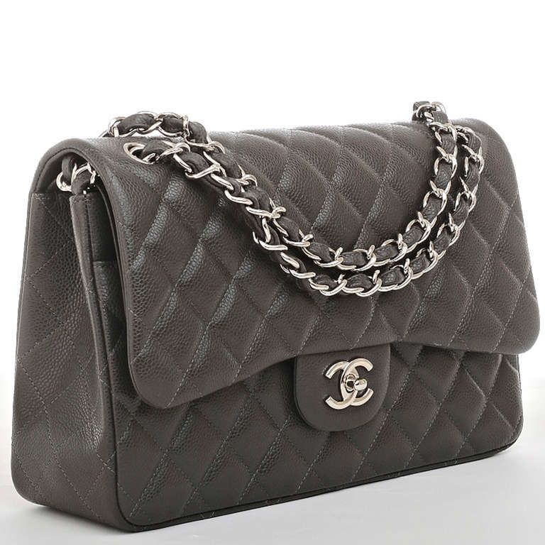 677bf0cb4862 Chanel Dark Grey Quilted Caviar Classic Jumbo 2.55 Double Flap Bag image 2