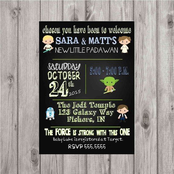 Digital Star Wars Chalkboard Style Baby Shower Invitation Printable