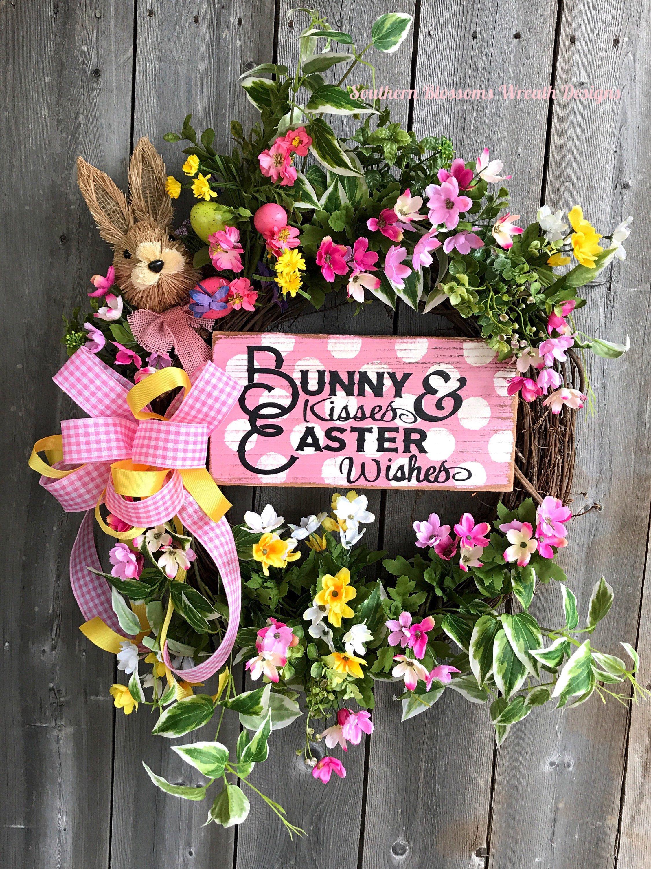 Easter Bunny Wreath Springsummer Floral Grapevine Wreath