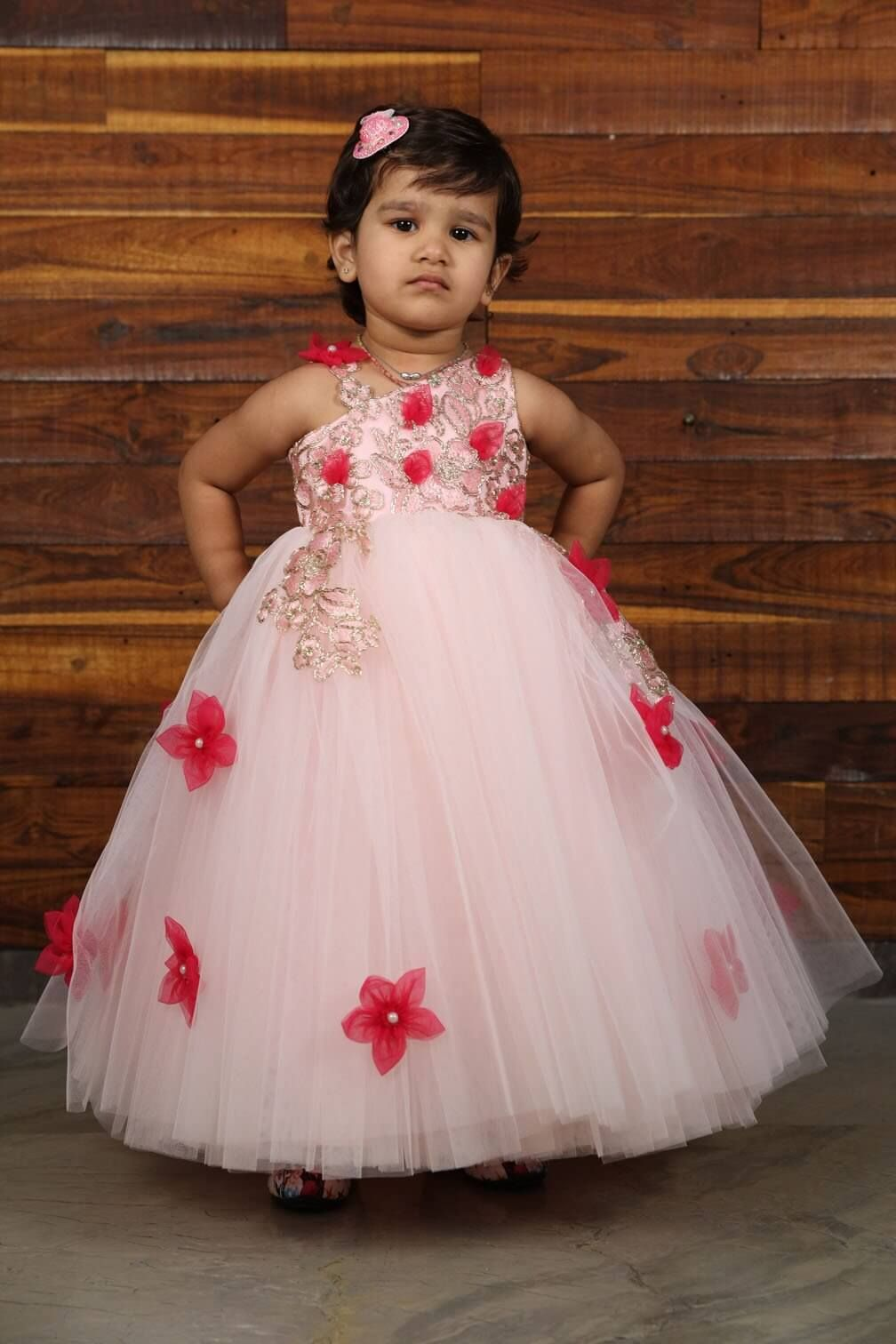 Classic baby pink with petals Kids gown, Kids dress