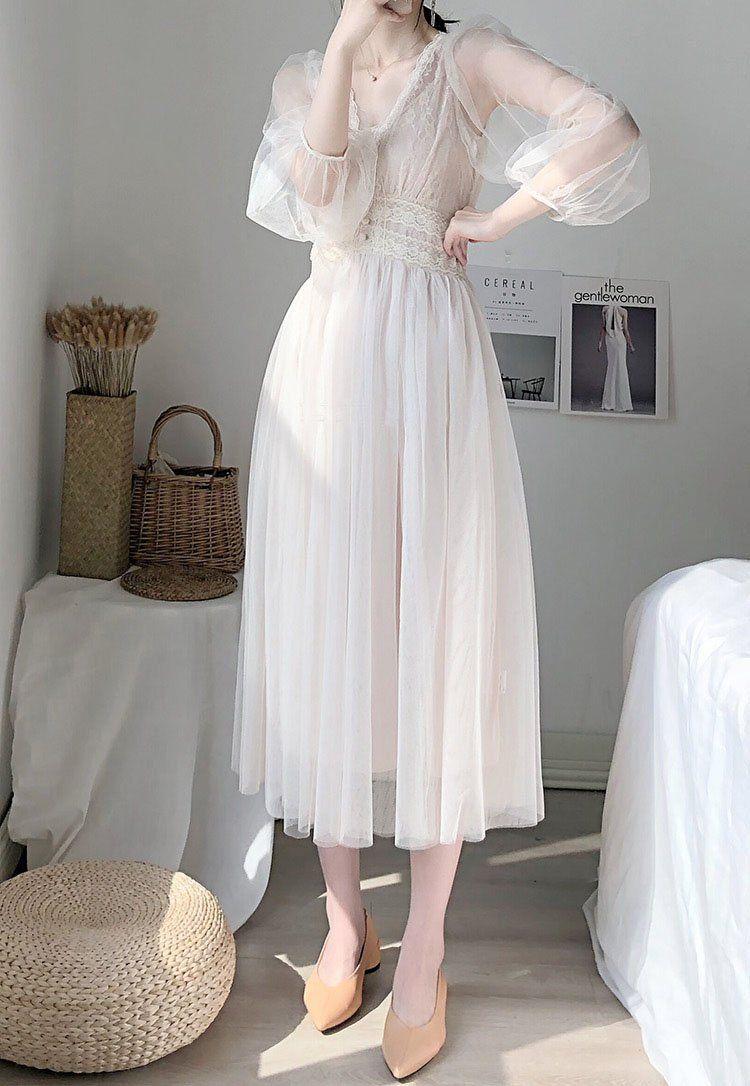 V Neck Grenadine Dress White Flowy Dress Ethereal Dress Dresses [ 1086 x 750 Pixel ]