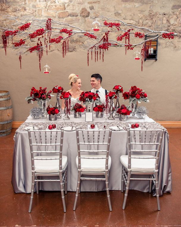 Red and grey wedding holiday inspired wedding photoshoot for Red decoration for wedding
