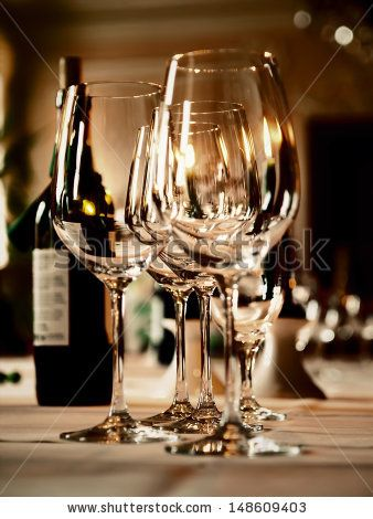 Bon Wine Glasses And A Bottle On A Table   Stock Photo