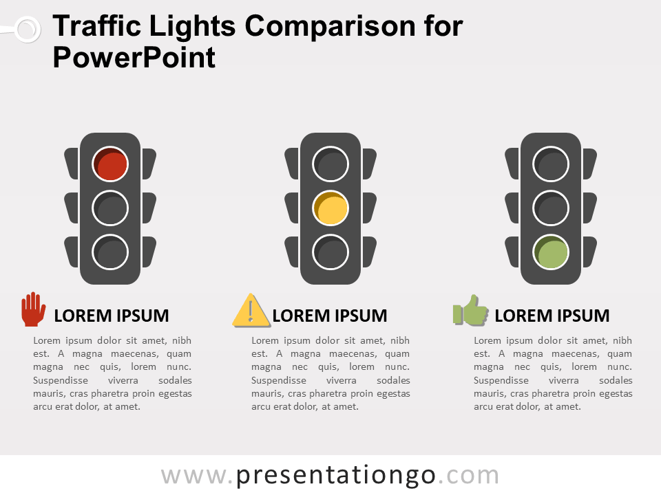 Traffic Lights Comparison For Powerpoint Presentationgo Com Traffic Light Powerpoint Timeline Design