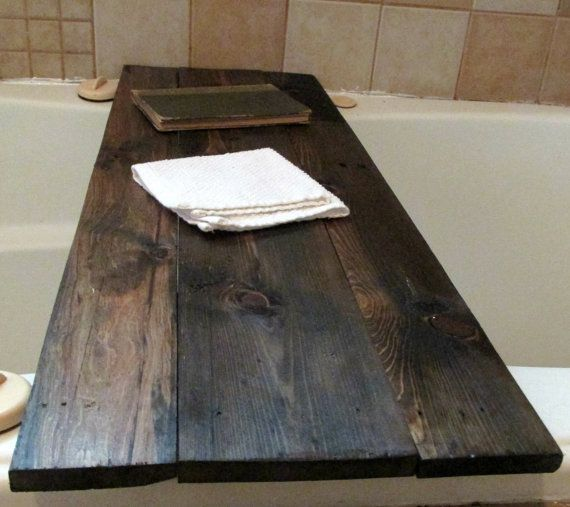 Bath Tub Book Tray Dark Walnut Stained Reclaimed Pallet