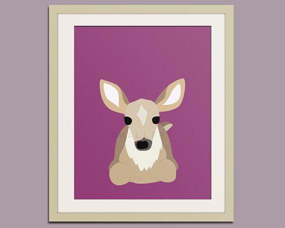Deer woodland nursery decor print. Forest animal by Wallfry