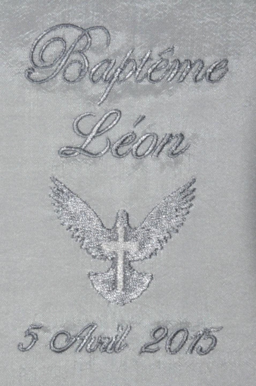 188fa5aadff4 écharpe de baptême bébé enfant colombe coton ou satin personnalisée brodée  garçon ou fille