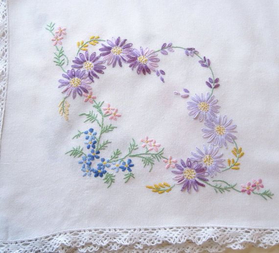 Vintage Hand Embroidered Tablecloth RESERVED By TheWhistlingMan