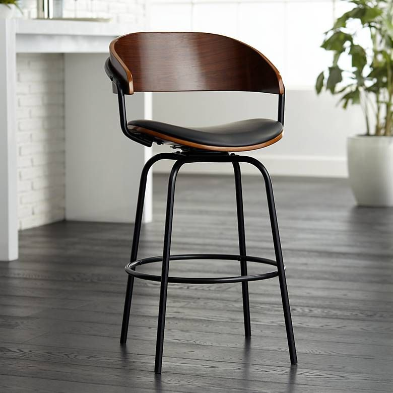 Excellent Larsen 26 High Black And Walnut Swivel Counter Stool In Ocoug Best Dining Table And Chair Ideas Images Ocougorg