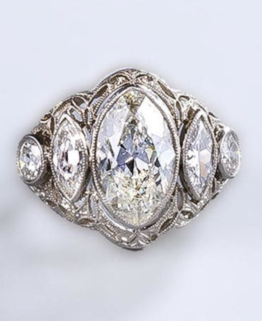 Jewelry Diamond A Belle époque Ring Circa 1910 Centering Marquise Shaped Fla Me